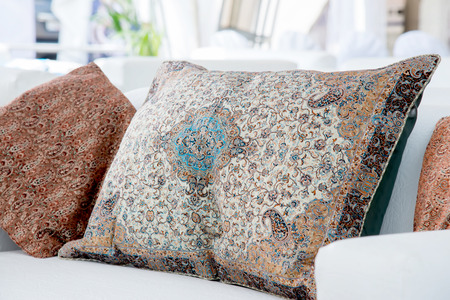 the two pillows with a Arabic pattern Stock Photo