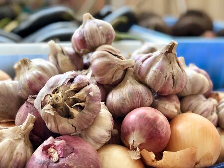 Raw vegetables: garlic and onions