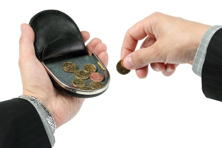 change purse: change purse on a palm, hold a coin Stock Photo