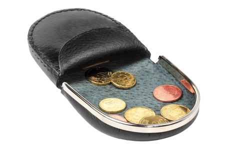change purse: open change purse on a white background