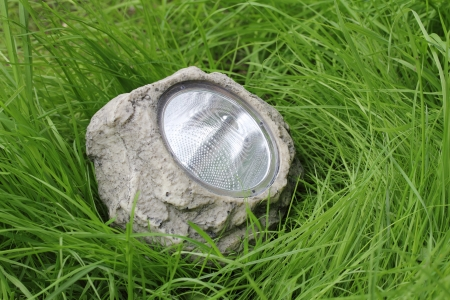 photocell: garden lamp with photocell in the grass