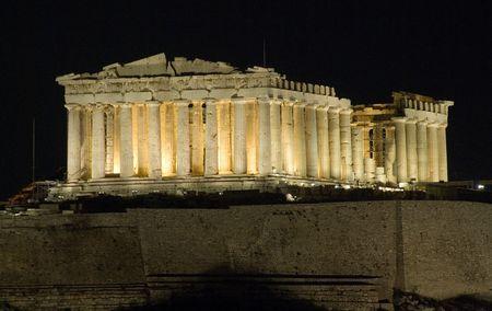 nightview: Pathenon at night, Acropolis, Athens Stock Photo