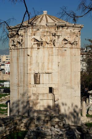 1st century ad: It was built by Andonicus Kyrrhos in the 1st century ad. There was a rounded stone on top, used to serve as the base for a revolving Triton. whose pointed in the direction of the wind.