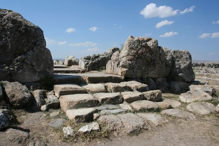 ���archeological site���: The Great temple, Hattusas archeological site, Turkey Stock Photo