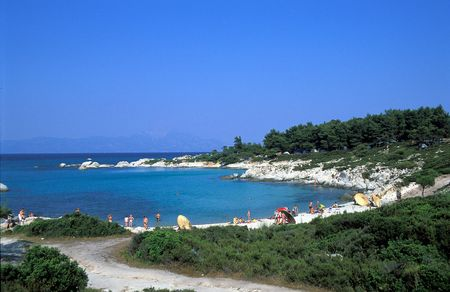 Kavourotripes beach, Halkidiki, Greece Stock Photo