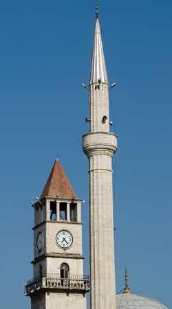 minaret: belltower and a minaret, Tirana, Albania Stock Photo
