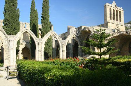 abbey ruins abbey: Bellapais abbey, Cyprus Stock Photo