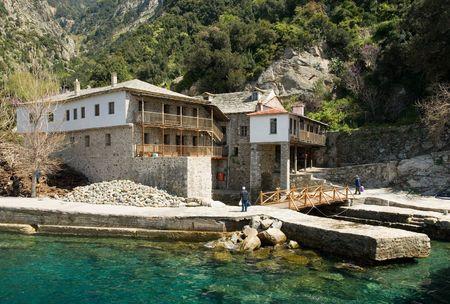 Gregoriou monasterio, el Monte Athos, Halkidiki  Foto de archivo - 2919348