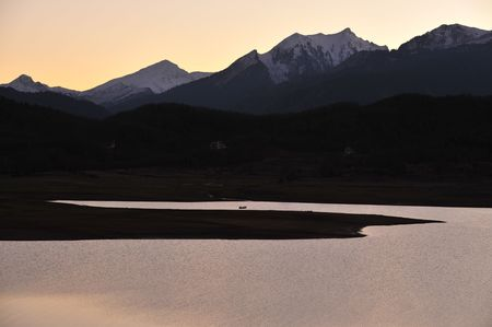 thessaly: Plastiras lake after sunset, Thessaly, Greece Stock Photo