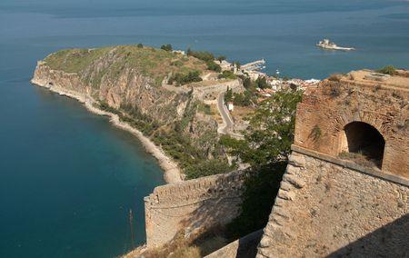 Palamidi castle and Nafplion city view, Greece photo
