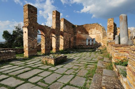 Ruins of Saint Achillios basilica, Prespa lake, Greece photo