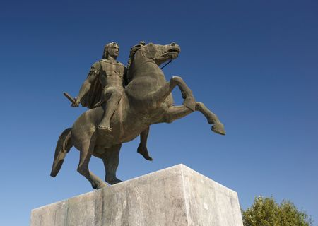 Close up view of Alexander the Great statue, Thessaloniki, Greece photo