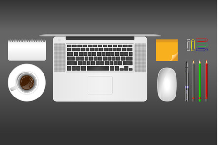 postit: Realistic vector illustration of coffee, notebook, laptop, post-it notes, mouse, pen, pencils, paper clips  on grey background Illustration