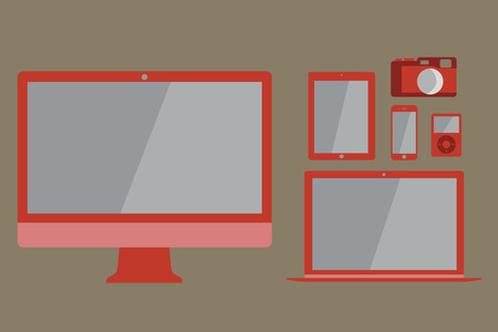 listening device: Flat design vector illustration of laptop, desktop computer, tablet, smart phone, music listening  device and rangefinder camera