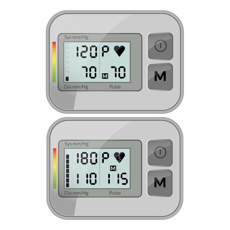 diastolic: Realistic vector illustration of blood pressure measuring cuff isolated on white background
