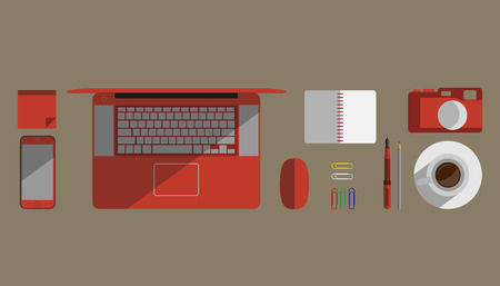 paper clips: Flat design vector illustration of coffee, notebook, laptop, post-it notes, mouse, pen, pencils, paper clips Illustration