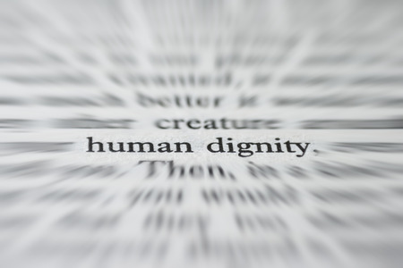 dignity: Macro photograph of the words Human Dignity- concept Stock Photo