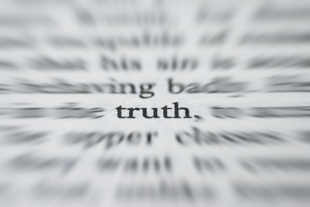 truth: macro photograph of the word truth - concept