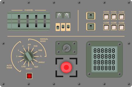 avionics: Vector illustration - Analog vintage control panel