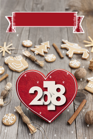Christmas heart shaped gingerbread background. Winter holidays atmosphere. Snoflakes. Hand drawn ribbon for copy.Perfect for greeting cards, flyers, etc.