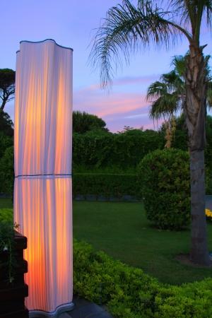 Evening illumination of park