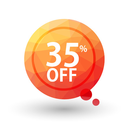 Orange triangular price vector bookmark 35 percent sale off. isolated  Vector