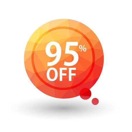 95: Orange triangular price vector bookmark 95 percent sale off. isolated  Illustration