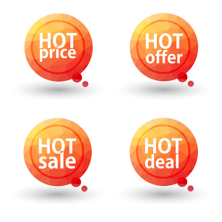 hot price: Hot Price, Hot Offer, Hot Sale and Hot Deal labels. Vector.