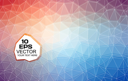 Geometrical background made from red, blue, violet, orange and purple triangles, with white web and sample text. Vector