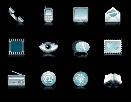 book mark: communications, telecommunications, icons, buttons, symbols, telephone, cellular, mobile, television, letters, mail, envelope, message, eye, visual, speech, word, mark, radio receiver, internet, book, read, network, web