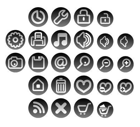 zoom in, zoom out, clock, time, settings, tools, audio, silent, printer, print, save, lock, unlock, home, shopping cart, web, email, configure, mail, letter, music, photos, Favorites, add, delete, purchase, buttons, symbols, terms, gray Stock Vector - 4992803