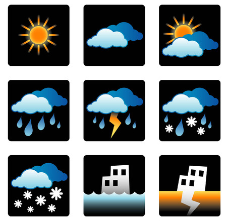 weather, forecast, sun, sunny, cloud, cloudy, overcast, rain, rainfall, storm, snow, flood, earthquake, environment, symbols, icons, vector, design, forecaster Stock Vector - 4992804