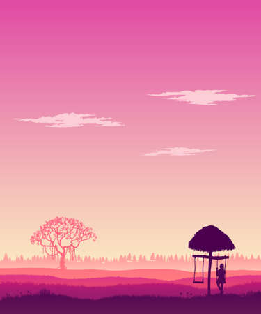 Lonely girl swinging on a swing. Hilly area. Vector illustration.