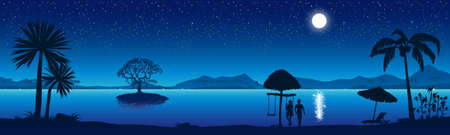 Night beach with a starry sky. A couple in love on the seashore. Vector illustration.