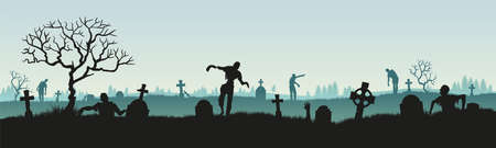 Panoramic silhouette of a zombie in a cemetery. Vector illustration for halloween.