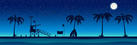 Silhouette of the beach with palm trees. Night panorama of the ocean. Vector background.