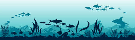 Illustration of the underwater world. Reefs and fish in the ocean.