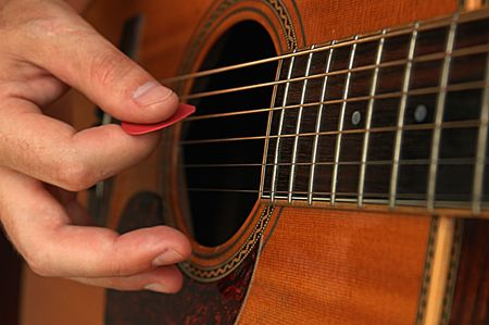 bard: Closeup of guitar and a hand playing