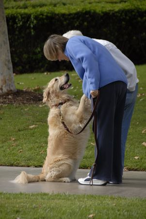 A dog is very happy to see his owner