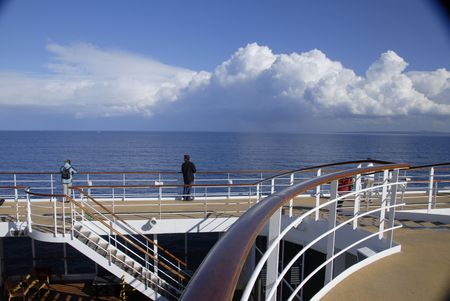 fantastic view: A man on the ship enjoying the fantastic view Stock Photo