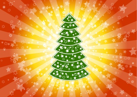 Color christmas background with tree. Stock Vector - 5787449