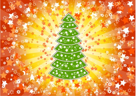 Christmas background with tree and stars. Stock Vector - 5787438