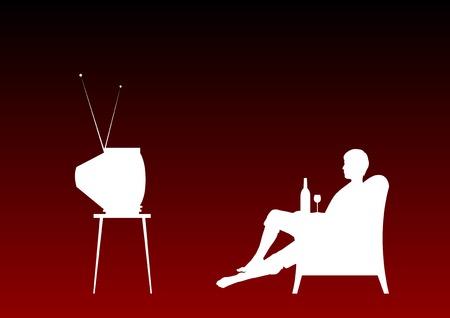 red couch: Guardando la televisione su sfondo rosso.