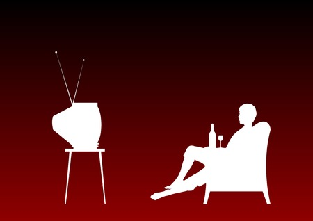 Watching television on the red background. Vector
