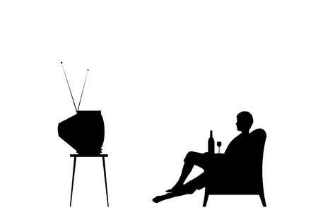 television screen: Man is watching tv. Isolated on the white background. Illustration