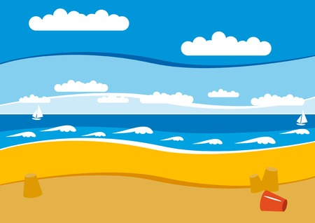 Empty beach with yellow sand and blue sky and white waves. Vector