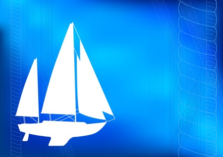 brigantine: White silhouette of ship on the blue background. Illustration