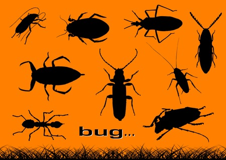 sawyer: Black silhouettes of various bugs. Illustration