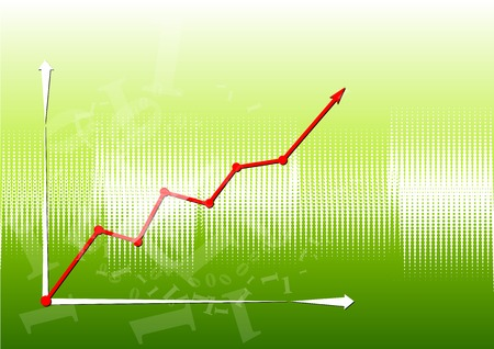 Graph up on the green background. Vector