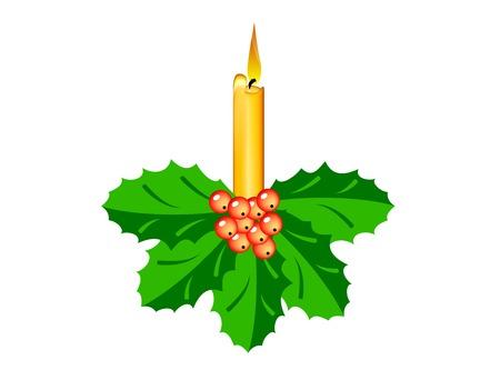 ilex: Burning orange candle with ilex.